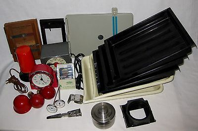 20 Pc Vintage Photograph Darkroom Lot Timers Lights Easel Frames Thermometers +