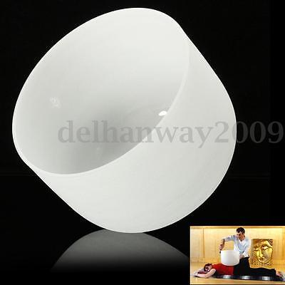 Frosted Chakra Quartz Crystal Singing Bowl F Heart Musical Pitch 10 inch (24cm)