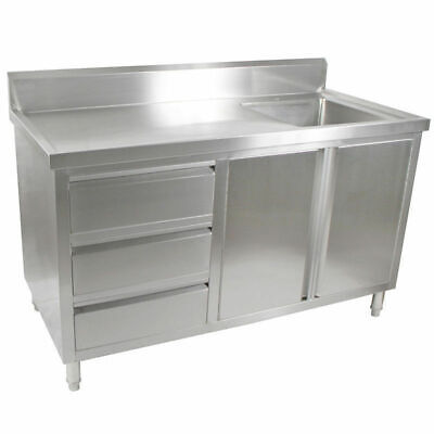 Kitchen Cabinet w Sink, Single Right Bowl, Stainless Steel, 1500x700x900mm