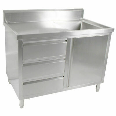 Kitchen Cabinet w Sink, Single Right Bowl, Stainless Steel, 1200x700x900mm
