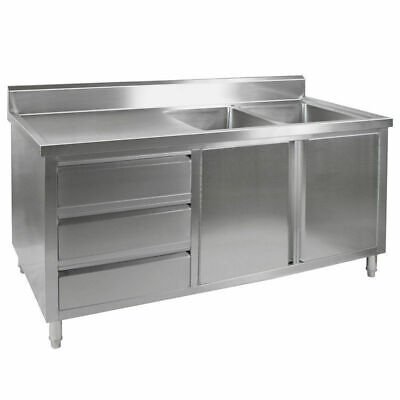 Kitchen Cabinet w Sink, Double Right Bowl, Stainless Steel, 1800x700x900mm
