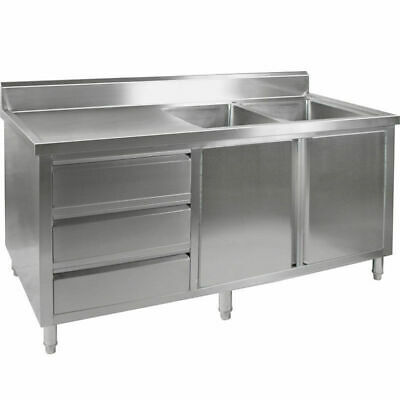 Kitchen Cabinet w Sink, Double Right Bowl, Stainless Steel, 2400x700x900mm