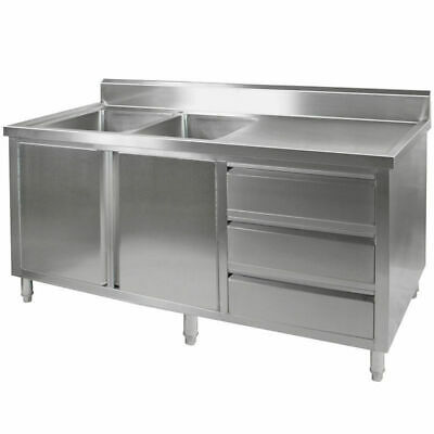 Kitchen Cabinet w Sink, Double Left Bowl, Stainless Steel, 2400x700x900mm