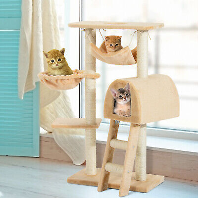 "39"" Deluxe Cat Scratching Tree Kitten Condo Kitty Play House Multi-level Tower"
