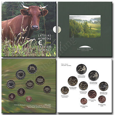 Latvia 2016: Currency coin set KMS Original Blister in brilliant uncirculated