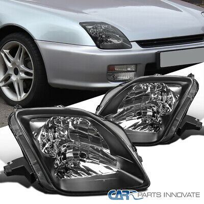 97-01 Fit Honda Prelude Black Housing Headlights Clear Head Lamps Replacement