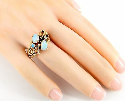 Genuine Antique Victorian 14K Opal Rope Bow Ring Size 6