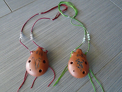 Vintage Style Ocarina Ceramic Flute Necklace-Green or Red