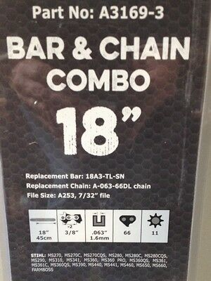 Chainsaw bar and 2 Chain combo 18 inch Stihl 3/8th 72 links 10 tooth ms farmboss