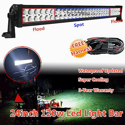 24 inch 120W LED LIGHT BAR FLOOD SPOT WORK OFFROAD 4X4WD JEEP SUV ATV TRUCK 20""