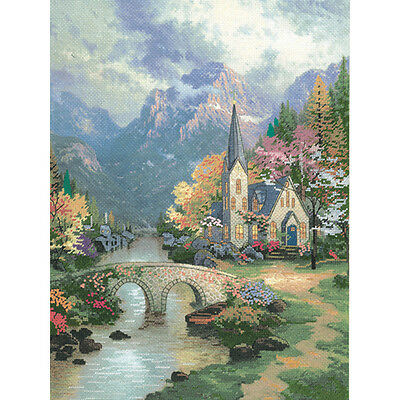 Thomas Kinkade Mountain Chapel Embellished Cross Stitch Kit
