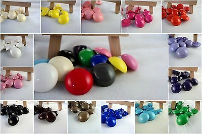 B3 - 18mm 10pcs LITTLE HALF BALL DOME SHAPED SHANKED PLASTIC BUTTONS-MANY COLOUR