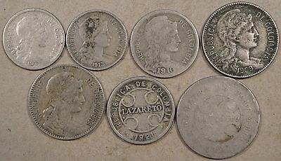 Colombia 5 inflationary and 2 Leprosarium Coins Most lower Grade as Pictured