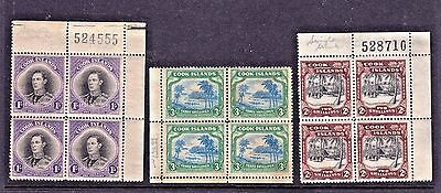 Cook Islands   1938     1/, 2/- & 3/- Mint Blocks (Sg143,128,&145)  Cv £250