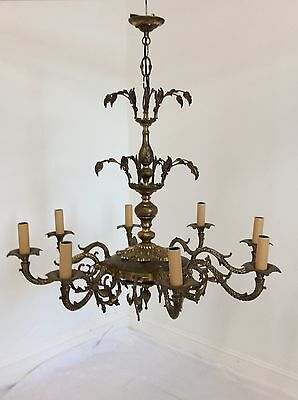Vintage Antique Style Brass and Ormolu 8 Arm Chandelier
