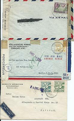 CURACAO: Lot 3  airmail covers to Venezuela and USA. Arr.canc.