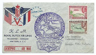 CURACAO: Airmail First flight cover to USA 1943, censored.