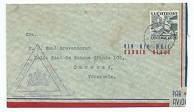 CURACAO: Airmail cover to Venezuela 1941. censored. Arr.canc.