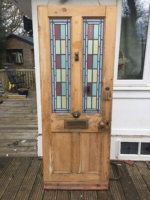 1 Victorian Stained Glass Front Door Period Old Reclaimed Antique Leaded Wooden
