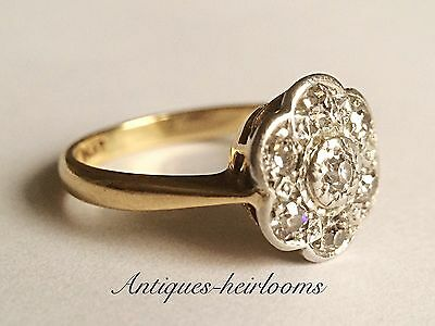 Antique Diamond Daisy Cluster Edwardian 18 ct (750) Gold Ring  Investment Piece