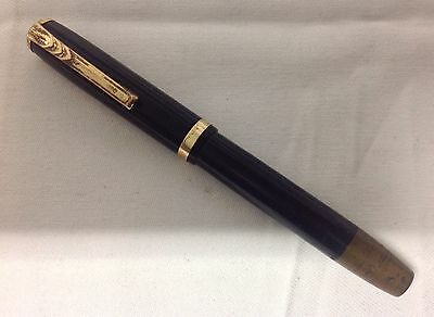 Vintage Piston Filled Fountain Pen - Unknown Maker - Black With Gold Tone Trim