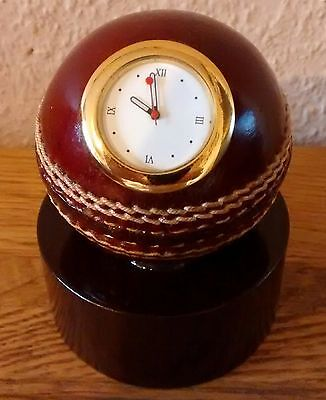 Genuine Red Leather Cricket Ball Quartz Desktop Clock & Stand,Seconds @ £12.50p