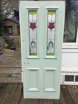 Victorian Stained Glass Front Door Period Old Reclaimed Antique Leaded Wood Pine