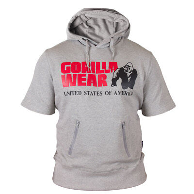 Gorilla Wear Boston Short Sleeve Hoodie Grau Pullover Sweatshirt Zipper Gym