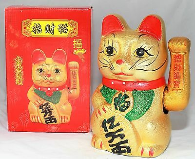 Very Large Japanese Money Cat maneki-neko Cat. Chinese Money Cat Gold Cat