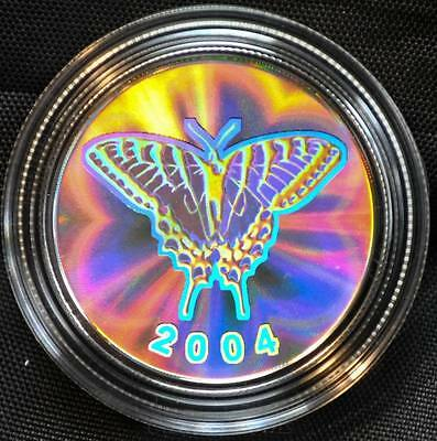 2004 Tiger Swallowtail Canada Hologram Sterling Silver Fifty Cents - Mint