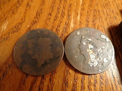 2 coin lot of Large Cents  -  lot W-125