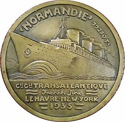1938 French Cruise Liner Normandie ~ Voyage To Rio De Janeiro ~ Art Deco Medal