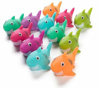"""12 Pack Squirting Bath Toys, 2"""" Rubber Shark Squirts Baby and Children Toys in 1"""