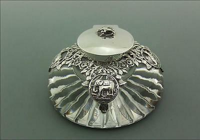 Victorian Solid Silver & Glass Empire Inkwell 1900 - Stunning