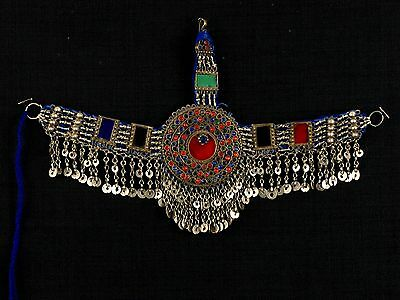 Unique Vintage Afghan Kuchi Tribal Belly Dance Metal, Glass & Fabric Headpiece
