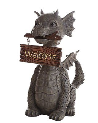"Garden Dragon Welcome Dragon Display Decorative Accent Sculpture Stone 10"" Tall"