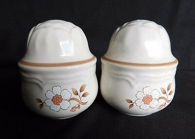 Beige Ceramic Floral Salt and Pepper Shakers