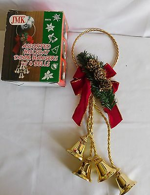 Christmas Holiday Door Knob Hanger With 4 Gold Bells And Red Bow