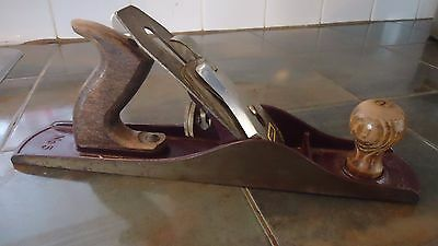 Vintage Stanley Bailey No 5 Wood Plane Smooth Bottom, 14""