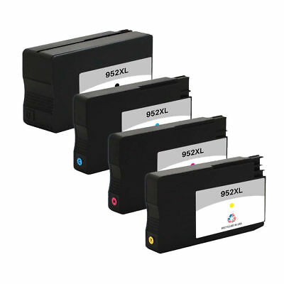 4-Pk 952XL 1 Black 1 Cyan 1 Magenta 1 Yellow Remanufactured Ink Cartridges