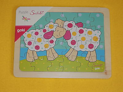 1 Holzpuzzle SCHAFE Puzzle 24 Teile Susibelle GOKI mit rosa pastell Farbe tiere