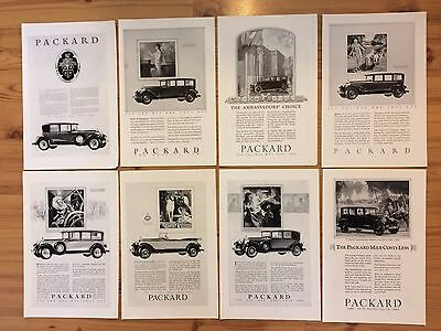 LOT OF 8 VINTAGE ANTIQUE 1920's PACKARD CAR ADS   AUTOMOBILE ADVERTISING