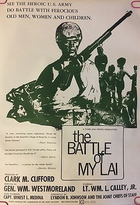 Vintage Anti war Poster Peace Pin-up Battle Of My Lai 1970s Headshop JBJ Soldier