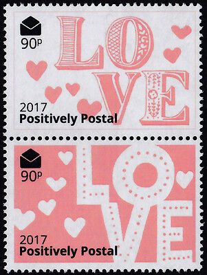 Positively Postal unmounted mint arti stamps x 2 Valentine LOVE White Pink