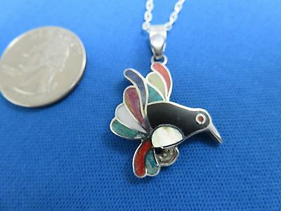 South American Jewelry 950 Sterling Silver Inca BIRD  Pendant Necklace  Peru G