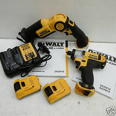 Dewalt Xr 10.8V Dcs310 Recip Saw & Dcf815 Impact Driver 2 Ah Li-On + Cases