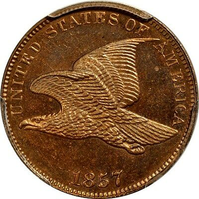 1857 1C Snow-1 FS-401a Obv of 1856, Flying Eagle Cent PCGS MS65 (PHOTO SEAL)
