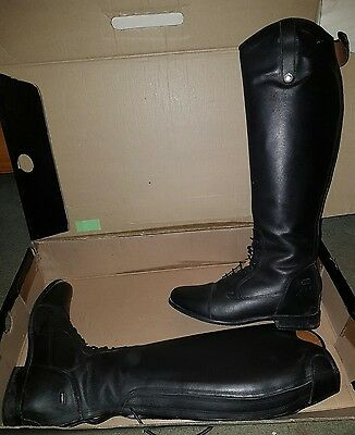 Long leather riding boots size 8 wide Mark Todd