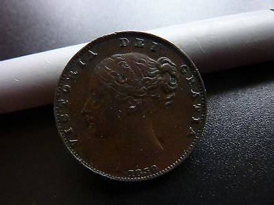 1838 Farthing Nice detail Scarce Victoria Coin