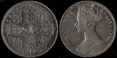 narkypoon 's HIGH GRADE 1849 Victoria 925 fine STERLING SILVER 'Godless' Florin